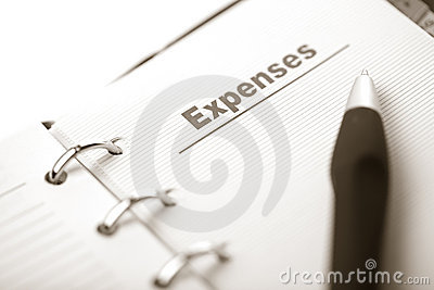 Organizer and pen isolated. expenses page