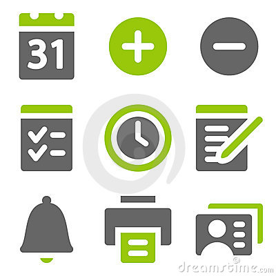 Free Organizer Web Icons, Green Grey Solid Icons Stock Photos - 17881533