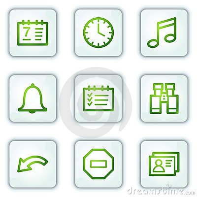 Organizer web icons, white square buttons