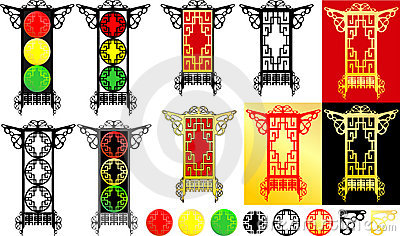 Oriental lanterns & traffic light