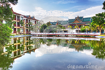 Oriental architecture reflected in the pond