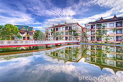 Oriental architecture with reflection
