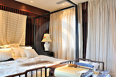 Oriental bedroom interior and furniture