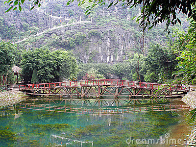 Oriental bridge and pool