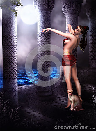 Free Oriental Dancer In Moonlight Stock Photography - 30100122