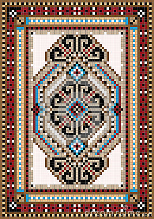 Oriental design in the frame for carpet