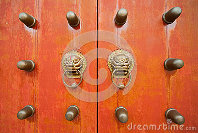 Oriental door and knobs