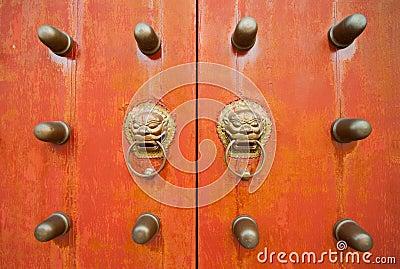 Oriental door and knobs