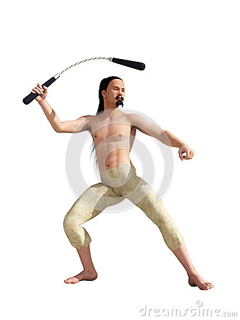 Oriental fighter with nunchuck