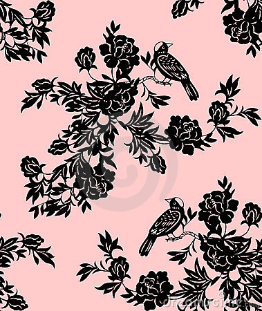Free Oriental Floral And Bird Patterns Stock Image - 12336111