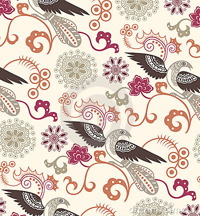 Free Oriental Floral And Birds Pattern Stock Photo - 11112780