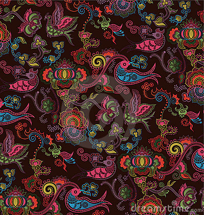 Oriental Floral and Bird Pattern 4