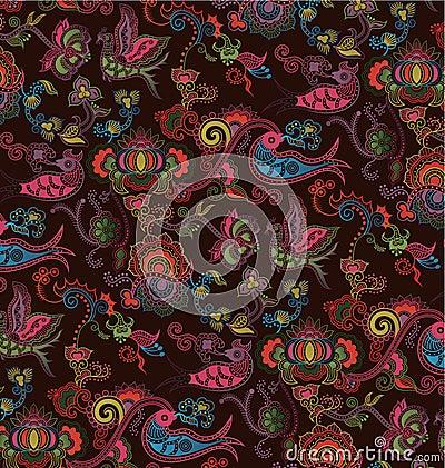 Oriental Floral and Bird Pattern 4