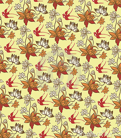 Oriental Floral Pattern with Birds