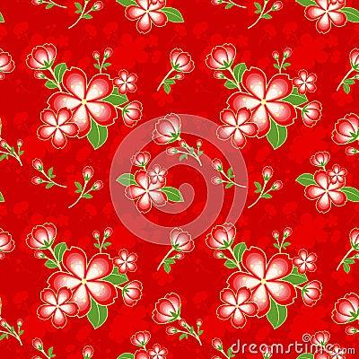 Oriental Flower Chinese Seamless Pattern