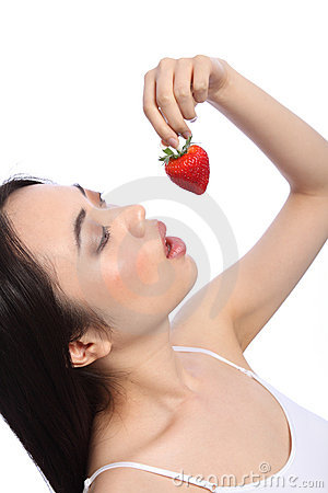 Free Oriental Girl Eating Red Strawberry Fruit Royalty Free Stock Photos - 19426398