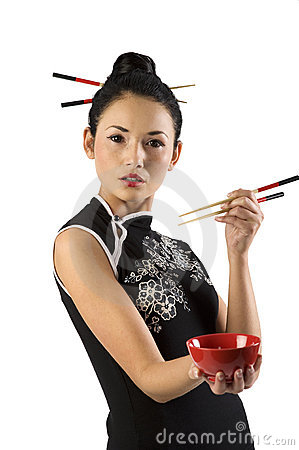 Free Oriental Girl With Chopstick Royalty Free Stock Image - 12358696