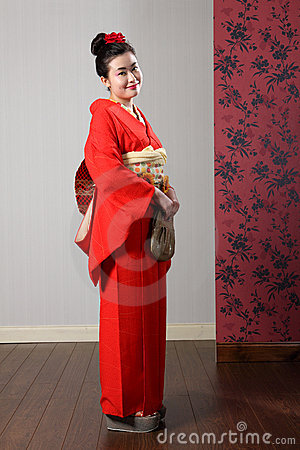 Oriental kimono model in traditional Japan dress