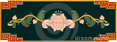 Oriental Lotus Design Element