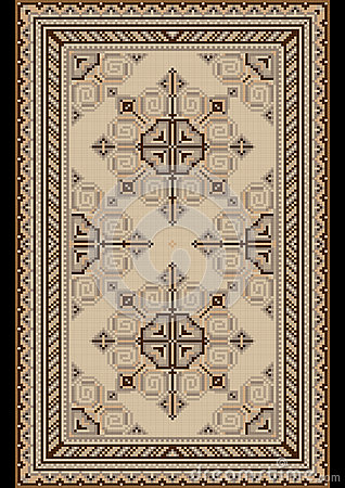 Oriental pattern for light carpet with beige and brown shades