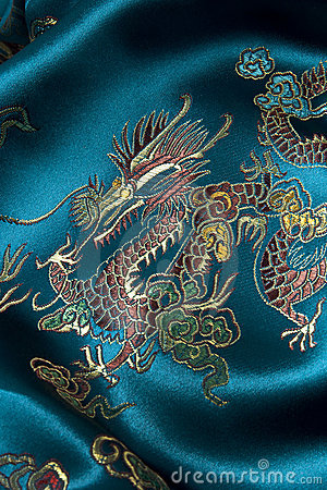 Oriental pattern on silk fabric