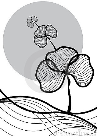 Oriental plant black on white