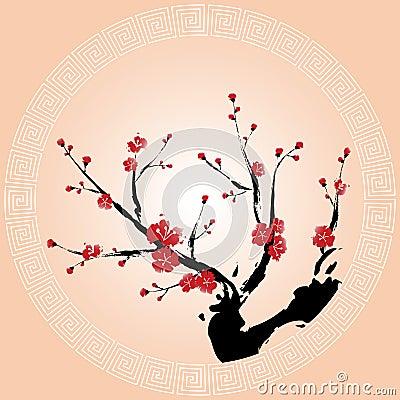 Oriental plum blossom wallpaper