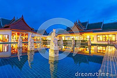 Oriental resort architecture at dusk