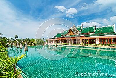 Oriental resort on sunny day