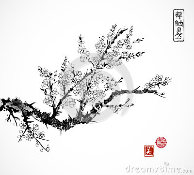 Free Oriental Sakura Cherry Tree In Blossom And Fishing Boat In Water. Traditional Oriental Ink Painting Sumi-e, U-sin, Go Stock Photos - 91203963