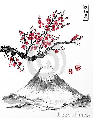 Free Oriental Sakura Cherry Tree In Blossom And Fujiyama Mountain On White Background. Contains Hieroglyphs - Zen, Freedom Royalty Free Stock Images - 91204119