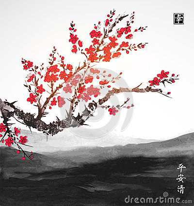 Free Oriental Sakura Cherry Tree In Blossom And Landscape With Far Mountains. Traditional Oriental Ink Painting Sumi-e, U-sin Royalty Free Stock Photography - 91560927