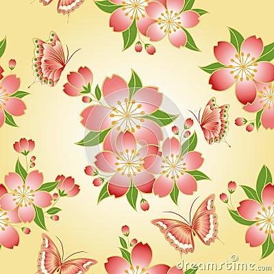 Oriental seamless pattern cherry blossom