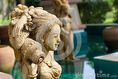 Oriental style fountain statues