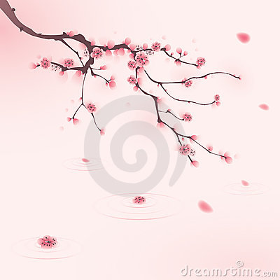 Free Oriental Style Painting, Cherry Blossom In Spring Stock Photography - 18373422