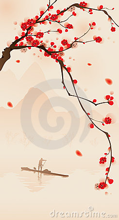 Free Oriental Style Painting, Plum Blossom In Spring Royalty Free Stock Photos - 18373408