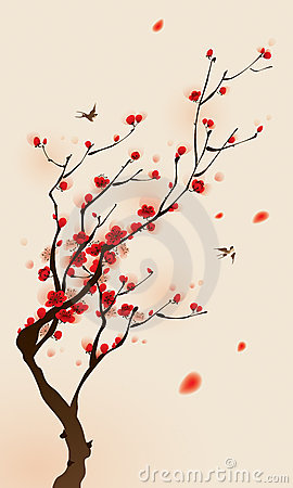 Free Oriental Style Painting, Plum Blossom In Spring Stock Photography - 18373692