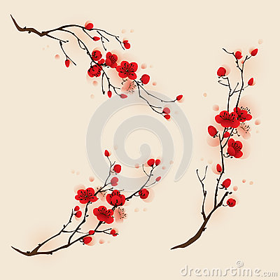 oriental style painting, plum blossom in spring royalty free stock, Beautiful flower