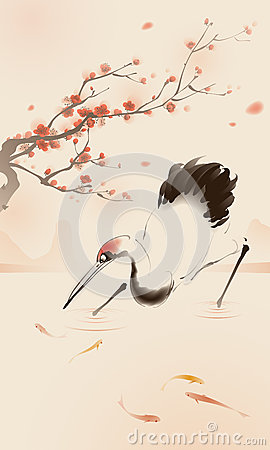 Free Oriental Style Painting, Red-crowned Crane Stock Image - 39628971