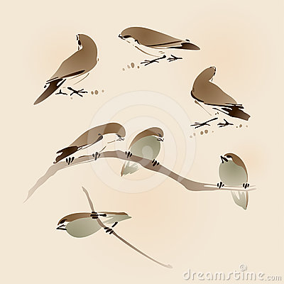 Free Oriental Style Painting, Sparrows Stock Photos - 24417613