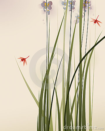 Free Oriental Style Painting, Tall Grasses And Flowers Royalty Free Stock Photo - 18373745