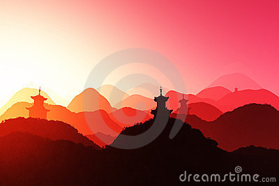 Oriental Sunset 3D render