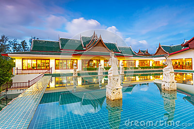 Oriental Thai pavilion at dusk