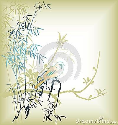 Free Oriental Tree And Bird Stock Photography - 15233392