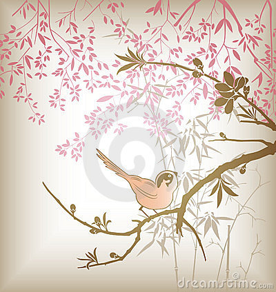 Free Oriental Tree Branch And Bird Stock Images - 15162784