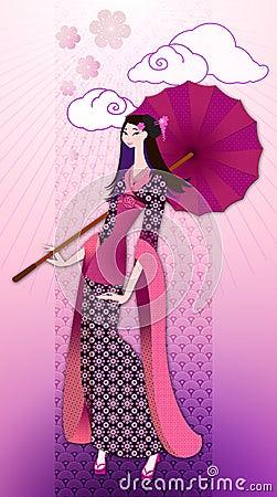 Oriental woman in kimono