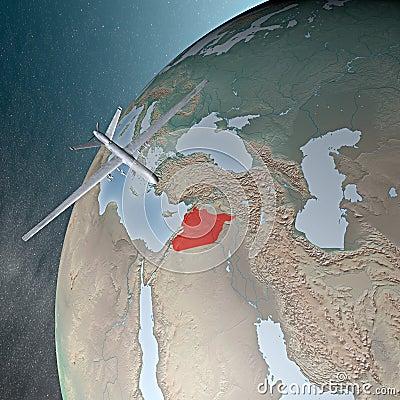 Oriente Medio según lo visto del espacio, abejón Foto de archivo editorial