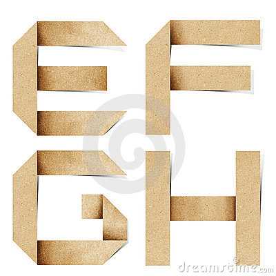 Origami alphabet letters recycled paper craft