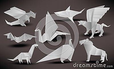 Origami animals (black & white)