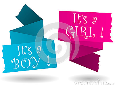 Origami banner-boy-girl-announcement